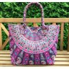 Mahari textilní taška s mandalou - velká kabelka, plážová taška, indická kabelka, fialová sloni, DOPRAVA ZDARMA