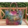 Textilní taška MAHARI s mandalou - velká kabelka, plážová taška, indická kabelka, duhová, DOPRAVA ZDARMA