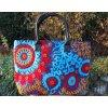 Indická kabelka textilní - indická taška s mandalou, vyšívaná kabelka, taška z Indie, modro-červená, DOPRAVA ZDARMA