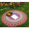 Mandala - jóga podložka kulatá, fialovo modrá, přehoz na postel, deka na pláž kulatá, pikniková podložka, bavlna, doprava zdarma
