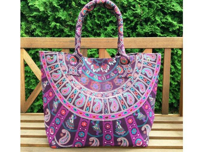 Textilní taška s mandalou - velká kabelka, plážová taška, indická kabelka, fialová sloni, DOPRAVA ZDARMA