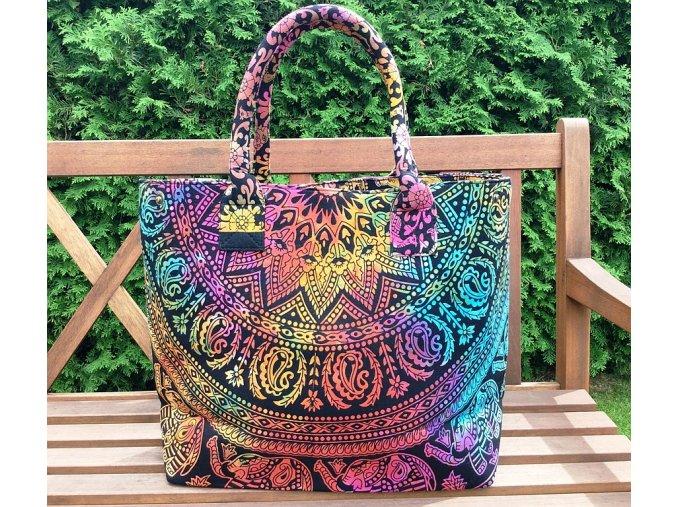 Textilní taška s mandalou - velká kabelka, plážová taška, indická kabelka, duhová, DOPRAVA ZDARMA