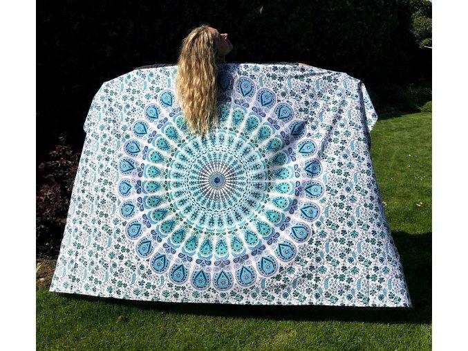 Mandala textilní dekorace na zeď - přehoz přes postel, jóga podložka, tapisérie, bavlna, doprava zdarma