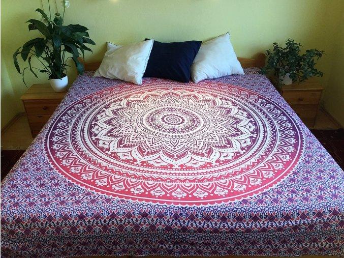 Bavlněná indická mandala, dekorace na zeď - XL přehoz na postel, jóga podložka, růžová ombre, tapisérie, doprava zdarma