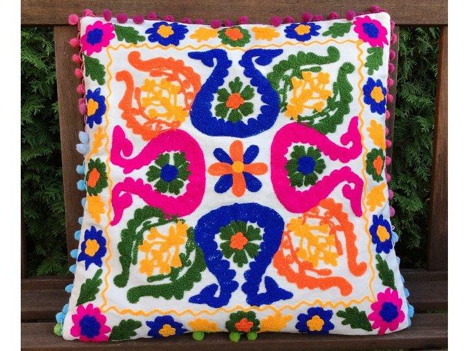 Dekorační povlak na polštář - tradiční indická výšivka, indický meditační polštář, bílý s barevnými vzory, doprava zdarma