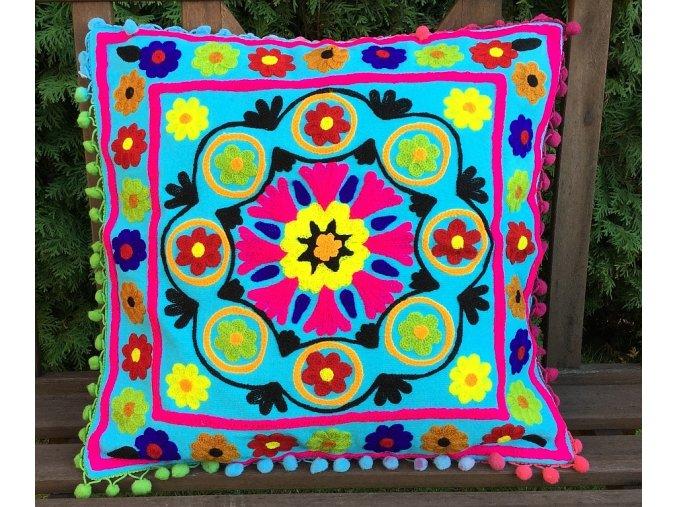 Dekorační povlak na polštář - tradiční indická výšivka, indický meditační polštář, modrý s barevnými květy, doprava zdarma