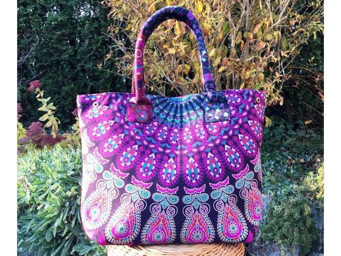 Textilní taška s mandalou - fialovo-růžová, velká kabelka, plážová taška, indická kabelka, DOPRAVA ZDARMA