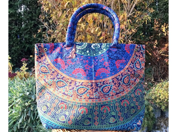 Mahari - Textilní taška s mandalou - velká kabelka, plážová taška, indická kabelka, modro-hnědá, DOPRAVA ZDARMA