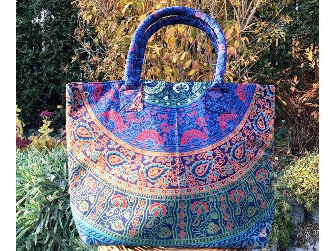 Textilní taška s mandalou - velká kabelka, plážová taška, indická kabelka, modro-hnědá, DOPRAVA ZDARMA