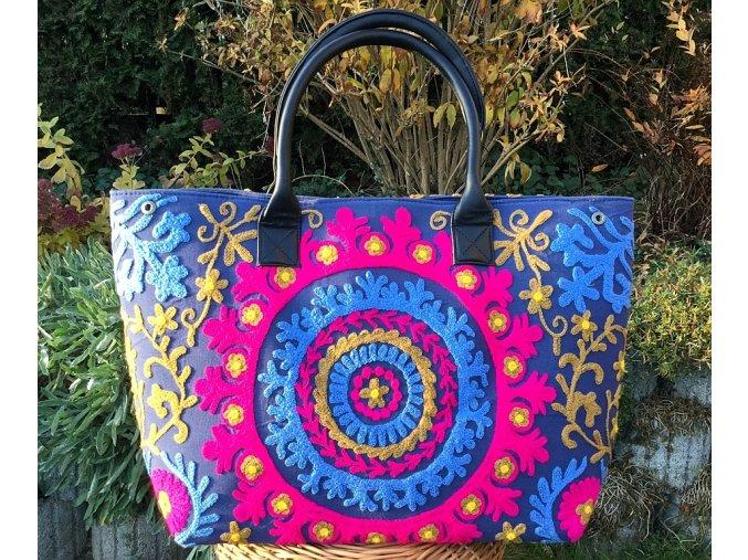 Indická kabelka textilní - indická taška s mandalou, vyšívaná kabelka, taška z Indie, modro-růžová, DOPRAVA ZDARMA