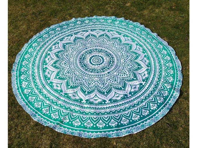 Mandala  Mahari - jóga podložka, kulatý přehoz na postel, deka na pláž, pikniková podložka, bavlna, modro-zelené ombré, doprava zdarma