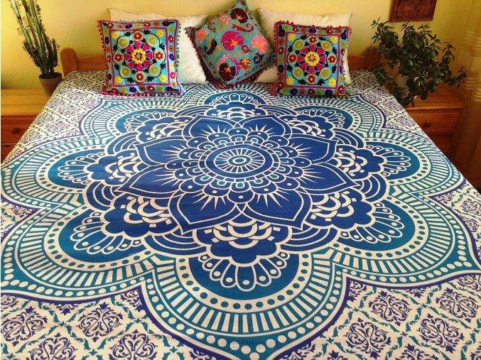 Bavlněná indická mandala, dekorace na zeď - indický XL přehoz na postel, jóga podložka, modrá mandala, tapisérie, doprava zdarma