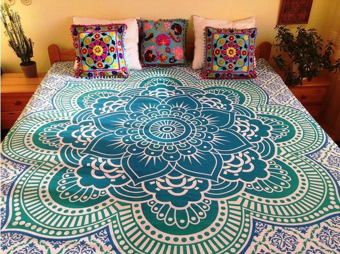Bavlněná indická mandala, dekorace na zeď - XL indický přehoz na postel, jóga podložka, modro-zelená mandala lotosový květ, tapisérie, doprava zdarma