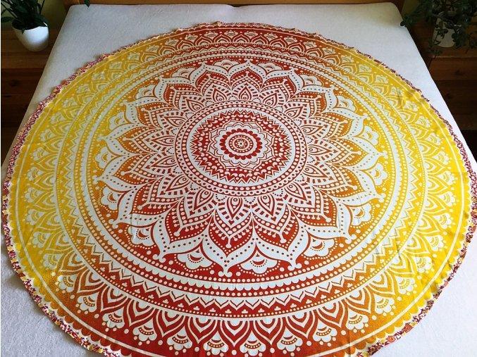Mandala - jóga podložka kulatá, oranžová ombré, přehoz na postel, deka na pláž kulatá, pikniková podložka, bavlna, doprava zdarma