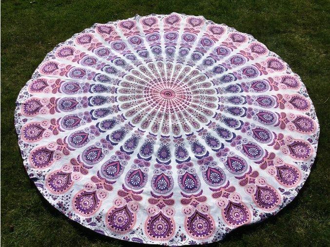Mandala - jóga podložka, kulatý přehoz na postel, deka na pláž, pikniková podložka, bavlna, růžovo-fialovo-bílá, doprava zdarma