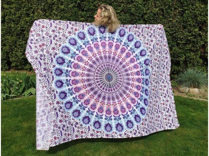 Mandala textilní dekorace na zeď - přehoz přes postel, fialovo-růžový, indický přehoz, jóga podložka, tapisérie, bavlna, doprava zdarma