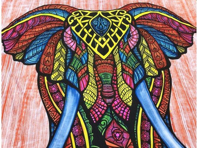 Mandala XXL textilní dekorace na zeď - přehoz přes postel, slon - brush print oranžový, tapisérie, bavlna, doprava zdarma