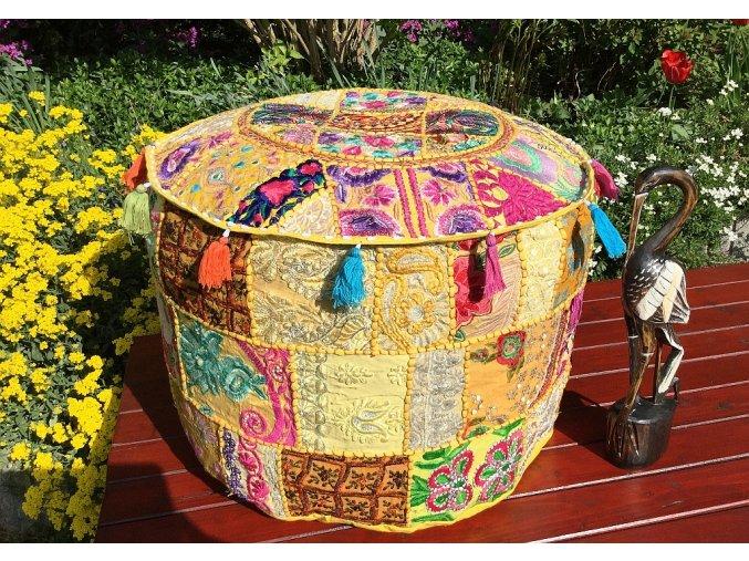 Mahari - Indický patchwork puf taburet - ruční práce, podsedák, sedací pytel, sedací taburet z Indie, žlutý, DOPRAVA ZDARMA