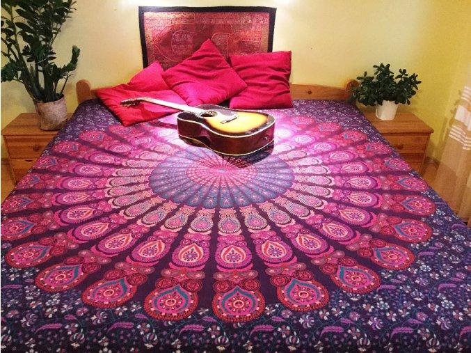 Mandala textilní dekorace na zeď - přehoz na velkou postel, jóga podložka, tapisérie, bavlna, doprava zdarma