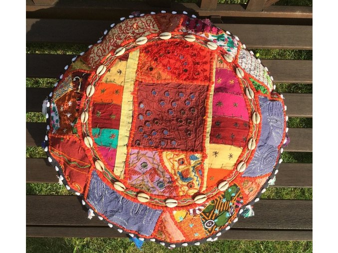 Indický patchwork relaxační dekorační polštářek - ruční práce, podsedák 4, DOPRAVA ZDARMA