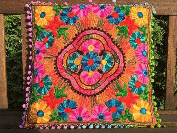 Dekorační povlak na polštář - tradiční indická výšivka, indický meditační polštář, oranžová batika s barevnými ornamenty, doprava zdarma