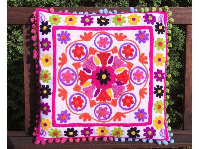 Mahari - Dekorační povlak na polštář - tradiční indická výšivka, indický meditační polštář, bílý s barevnými ornamenty, doprava zdarma