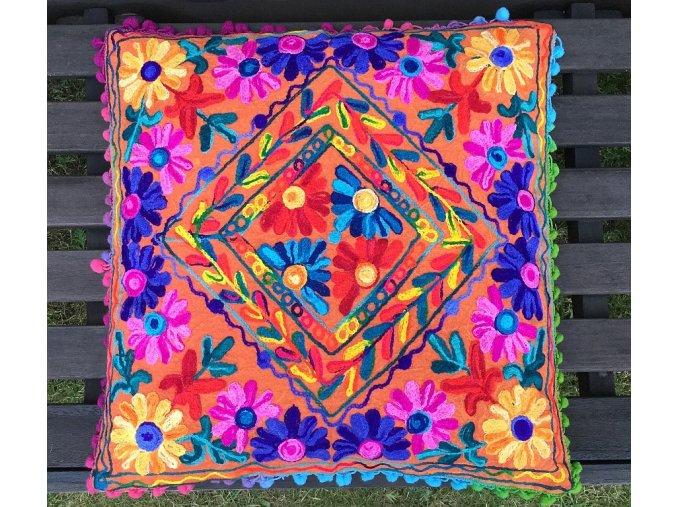 Dekorační povlak na polštář - tradiční indická výšivka, indický meditační polštář, oranžový, doprava zdarma