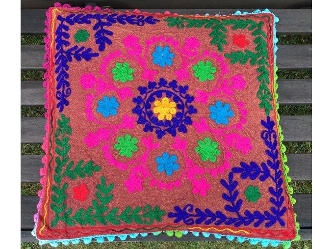 Mahari - Dekorační povlak na polštář - tradiční indická výšivka, indický meditační polštář, hnědorůžový, doprava zdarma