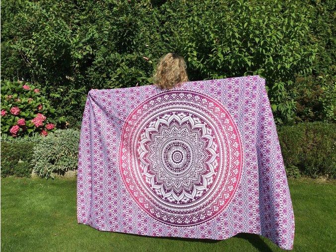Mandala textilní dekorace na zeď - růžový přehoz přes postel, jóga podložka, tapisérie, bavlna, doprava zdarma