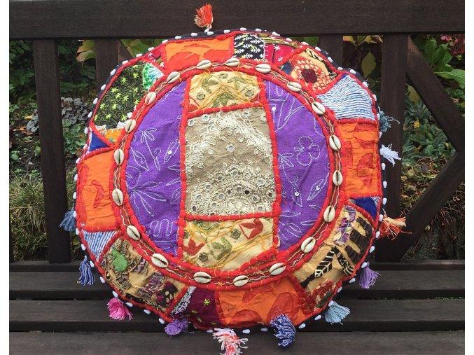 Indický patchwork relaxační dekorační polštářek - ruční práce, podsedák 7, DOPRAVA ZDARMA