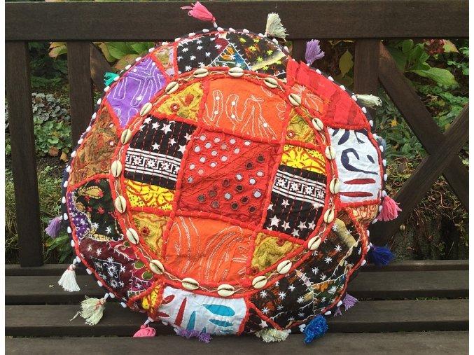 Indický patchwork relaxační dekorační polštářek - ruční práce, podsedák 8, DOPRAVA ZDARMA