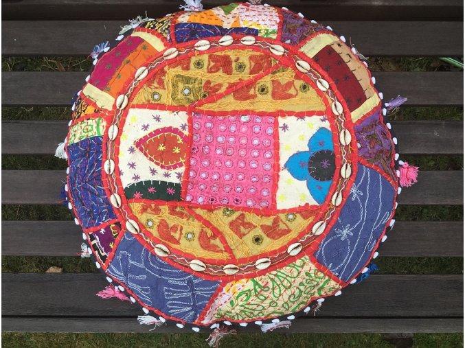 Indický patchwork relaxační dekorační polštářek - ruční práce, podsedák 9, DOPRAVA ZDARMA