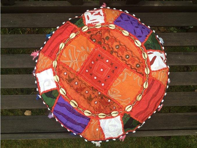 Indický patchwork relaxační dekorační polštářek - ruční práce, podsedák 10, DOPRAVA ZDARMA