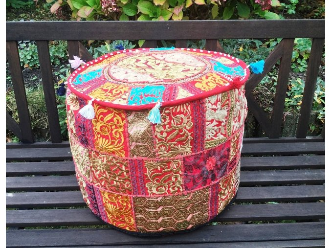 Indický patchwork puf taburet - ruční práce, podsedák, sedací pytel, sedací taburet z Indie, červený, DOPRAVA ZDARMA