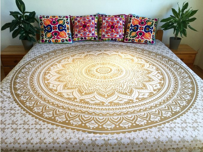 Bavlněný indický přehoz, mandala, dekorace na zeď - přehoz na postel, jóga podložka, bílo-zlatá, tapisérie, doprava zdarma