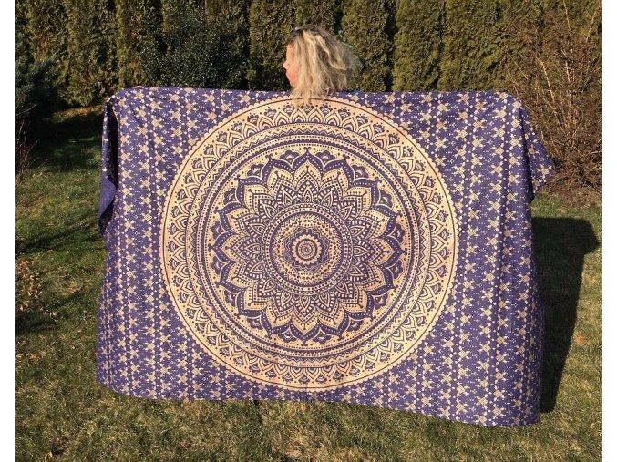 Mandala textilní dekorace na zeď - indický přehoz přes postel, jóga podložka, tapisérie, modro-zlatá, bavlna, doprava zdarma