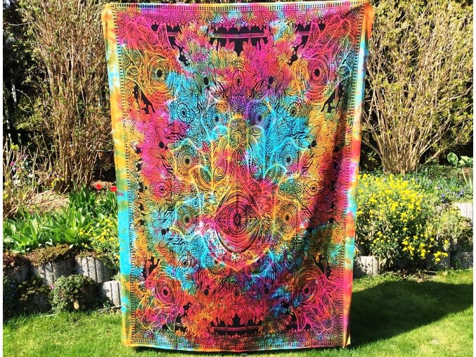 Mandala textilní dekorace na zeď - indický přehoz přes postel, jóga podložka, tapisérie, bavlna, batika, ruka Fatímy, doprava zdarma