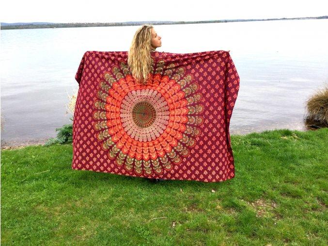 Mandala textilní dekorace na zeď - přehoz přes postel, jóga podložka, tapisérie, oranožovo-vínová, bavlna, doprava zdarma