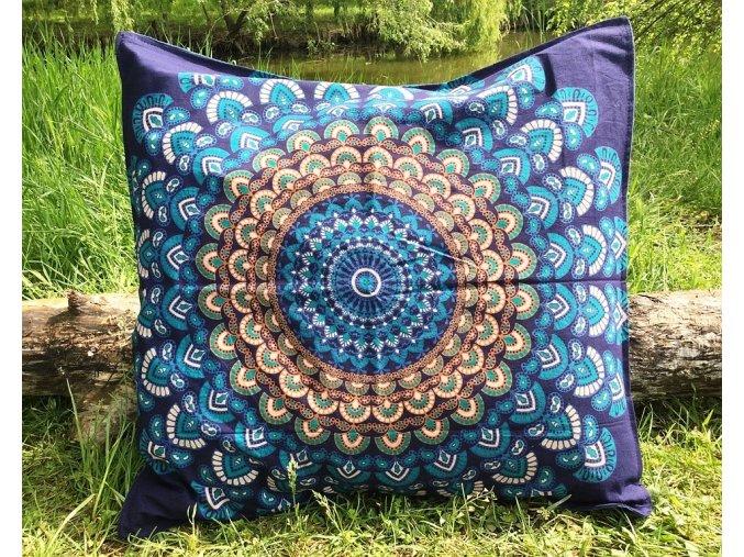 Mandala povlak na Mahari sedací meditační indický polštář, modrý, bavlna, SADA 2ks, doprava zdarma