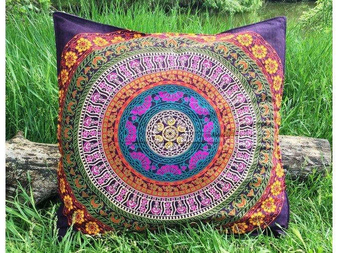Mandala povlak na Mahari sedací meditační indický polštář, fialový, bavlna, SADA 2ks, doprava zdarma