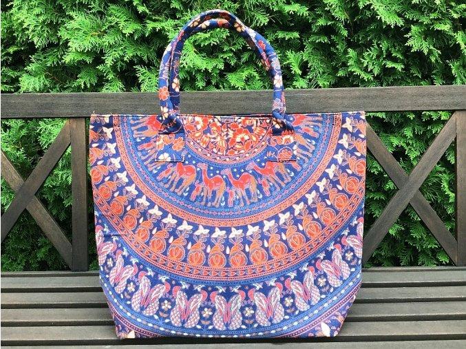 Mahari textilní taška s mandalou - velká kabelka, plážová taška, indická kabelka, s velbloudy, DOPRAVA ZDARMA