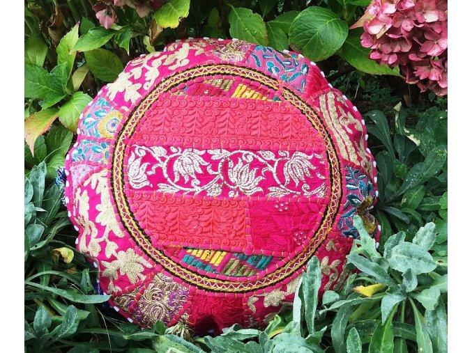 Indický patchwork relaxační dekorační povlak na polštářek MAHARI - ruční práce, podsedák červený, DOPRAVA ZDARMA