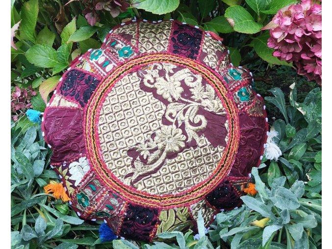 Indický patchwork relaxační dekorační povlak na polštářek MAHARI - ruční práce, podsedák hnědý, DOPRAVA ZDARMA