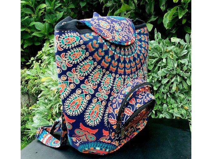 Textilní batoh Mahari s mandalou - indický baťůžek, oranžovo-modré paví péra, DOPRAVA ZDARMA