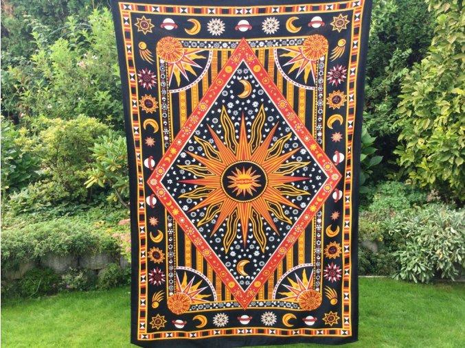 Mandala Mahari textilní dekorace na zeď - indický přehoz přes postel, jóga podložka, tapisérie, bavlna, planety, doprava zdarma