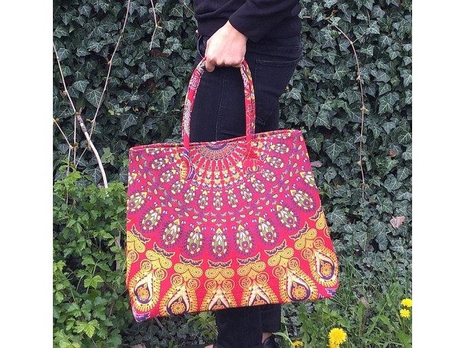Textilní taška s mandalou - indická taška, plážová taška, velká kabelka, DOPRAVA ZDARMA