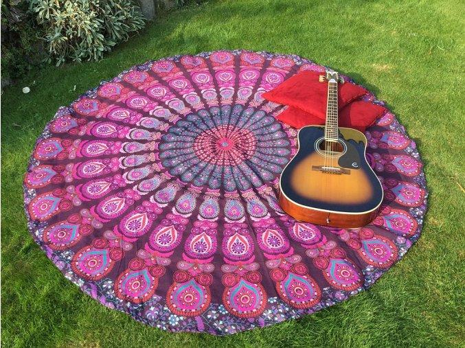 Mandala - Mahari jóga podložka, indický přehoz přes postel, ubrus, plážová deka, pikniková podložka, bavlna, doprava zdarma
