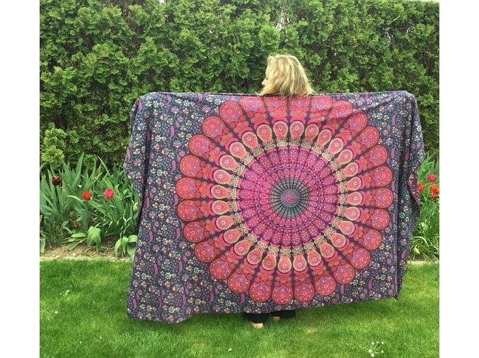 Mandala, fialová textilní dekorace na zeď - přehoz přes postel, jóga podložka, tapisérie, bavlna, doprava zdarma