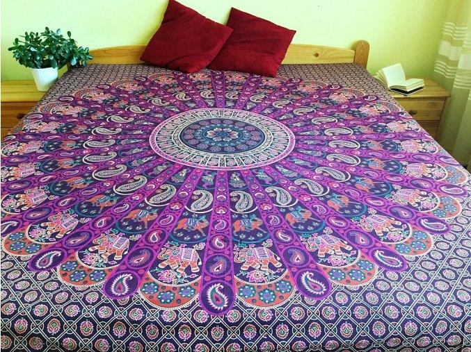 Mandala XXL textilní dekorace na zeď - přehoz přes postel, jóga podložka, tapisérie, bavlna, fialová se slony, doprava zdarma