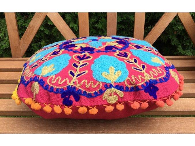 Dekorační povlak na polštář - tradiční indická výšivka, indický meditační polštář, kulatý,růžovo-tyrkysový, doprava zdarma